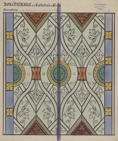 Projet de dessins pour compléter les vitraux déjà exécutés dans la dernière chapelle absidale Saint-Piacre. Non adopté