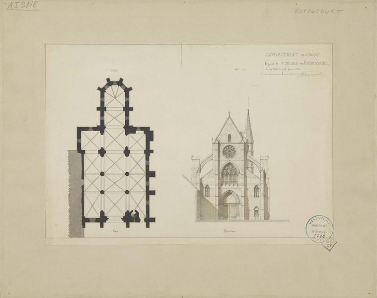 Plan de l'édifice et élévation de la façade ouest