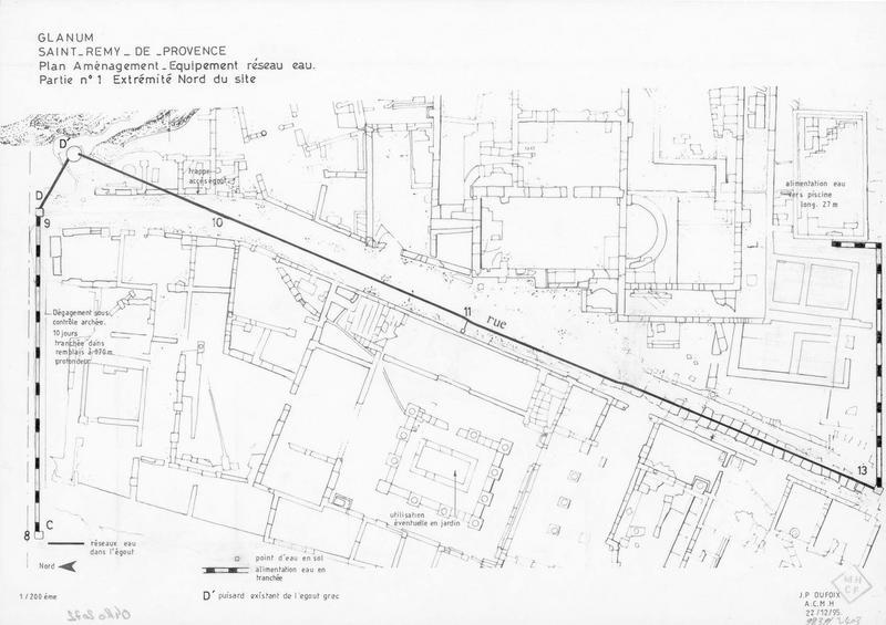 Plan d'aménagement : Équipement. Équipement réseau eau. Partie n°1, extrémité nord du site