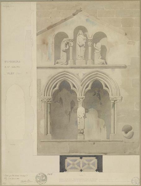Tombeau de Saint-Salvy, plan, élévation, coupe