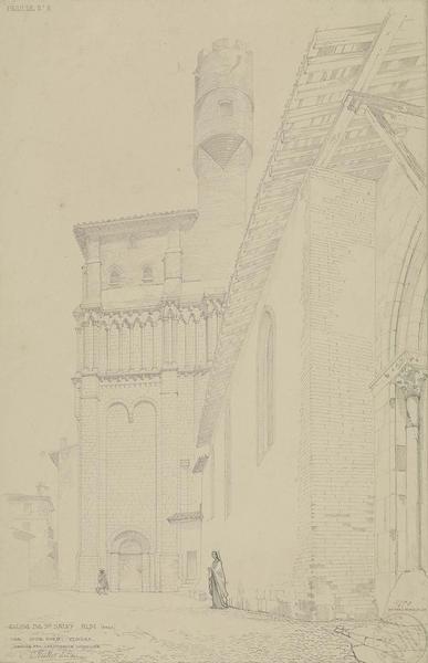 Vue perspective du bas-côté nord et du clocher