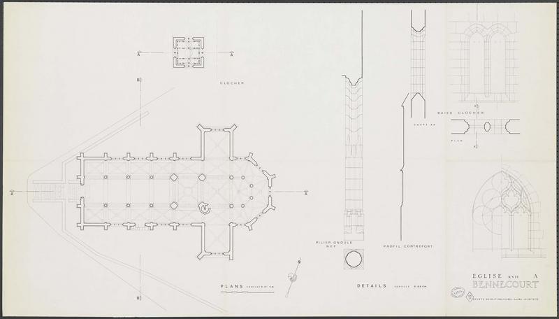 Plan au sol. Plan du clocher. Élévation et plan de pilier ondulé de la nef. Profil d'un contrefort. Baies du clocher, élévations, coupes et plan.
