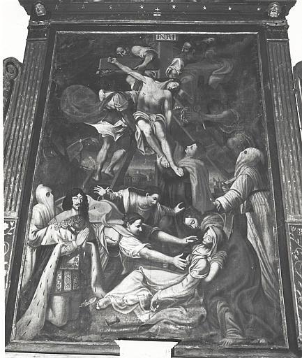 Retable, tableau : Descente de Croix avec les pénitents blancs et Louis XIII