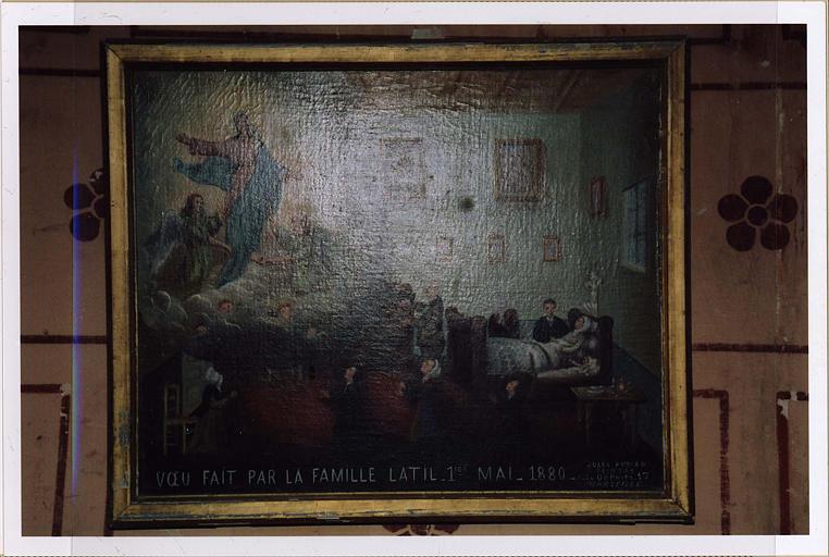 ex-voto : scène d'accouchement et inscription Voeu fait par la famille Latil 1er mai 1880
