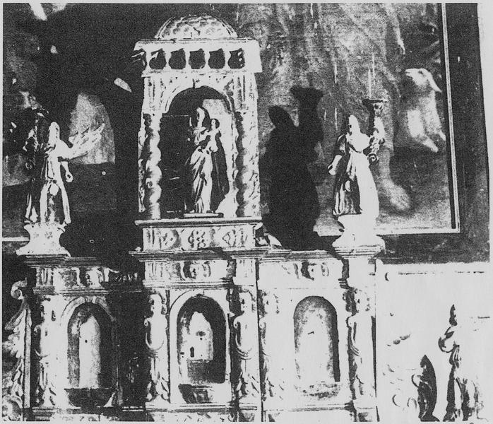 Tabernacle, 5 statuettes : Vierge à l'Enfant, quatre anges, vue générale