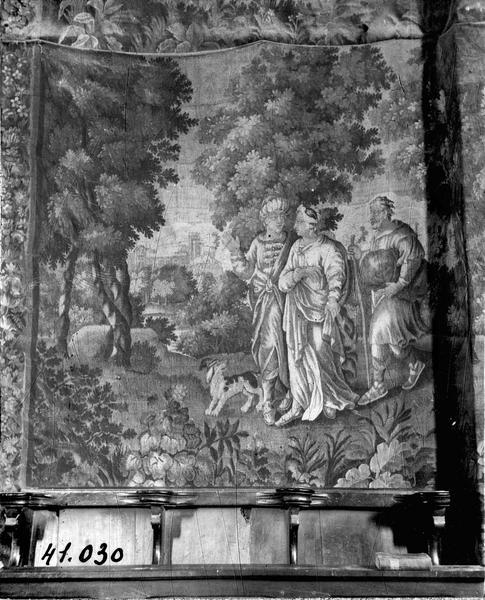 3 pièces murales (verdures) : Eliezar et Rébecca, une femme debout, personnages en promenade