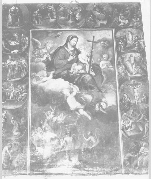 Tableau : Vierge à l'Enfant délivrant les âmes du purgatoire avec les mystères de la vie du Christ
