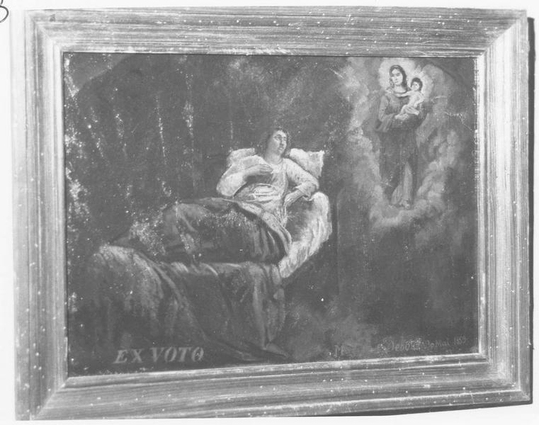 Ex-voto: 3 mai 1859: malade alité et Vierge à l'Enfant