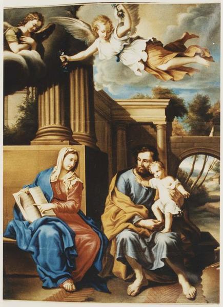 Tableau : la Sainte Famille avec l'Enfant Jésus apprenant à lire