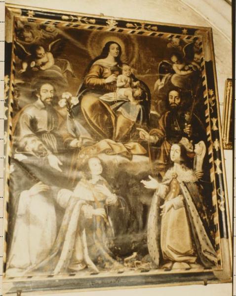 tableau, cadre : Donation du rosaire en présence de Louis XIV et Anne d'Autriche avec saint Joseph et saint Jacques