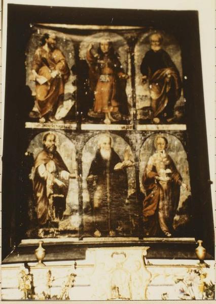 tableau : saint Jacques le Majeur, saint Jacques le mineur, saint Pierre, saint Barthélémy, saint Antoine et sainte Agathe
