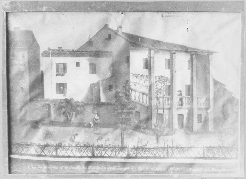 Tableau : vue du presbytère et de l'école des filles de Revest les Brousses