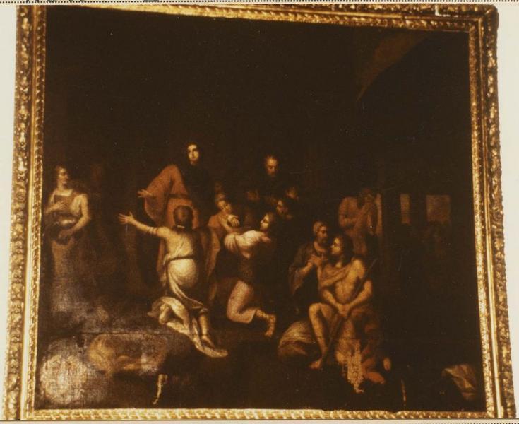 tableau et son cadre : Joseph reconnu par ses frères
