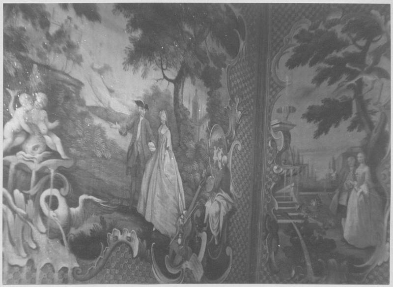 tableau : un Couple avec un escalier et une fontaine