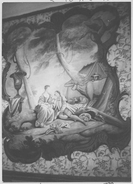 tableau : un Couple d'amoureux, un boeuf et une bergère
