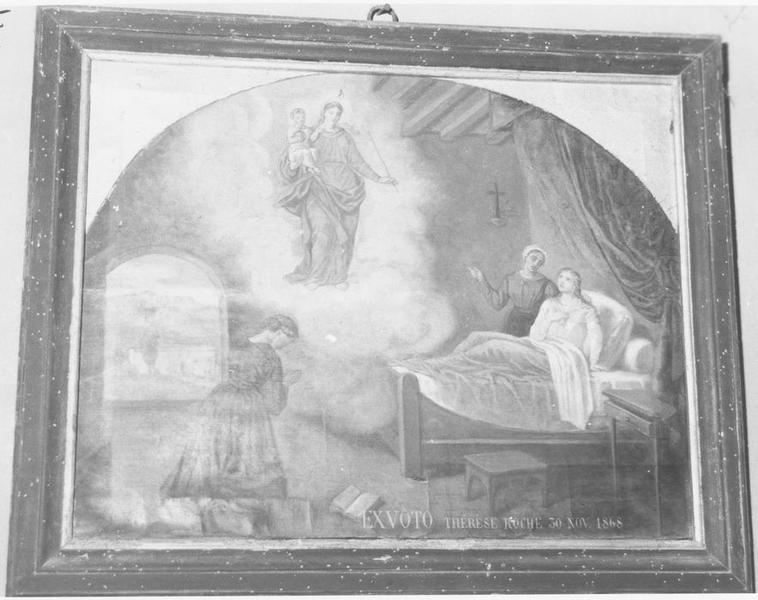 ex-voto: Thérèse Roche 30 nov 1868: femme alitée et femme en prière avec la Vierge à l'Enfant