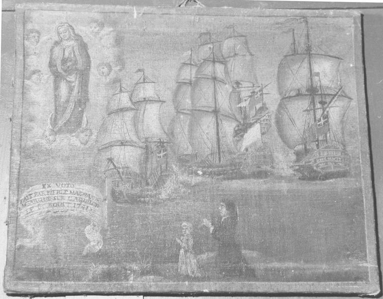 ex-voto: fait par Pierre Magnan embarqué su l'Aquilon 1741