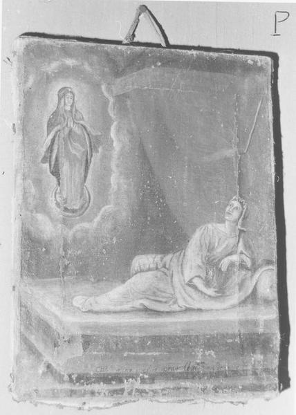 ex-voto: femme allongée et accoudée sur son lit devant la Vierge