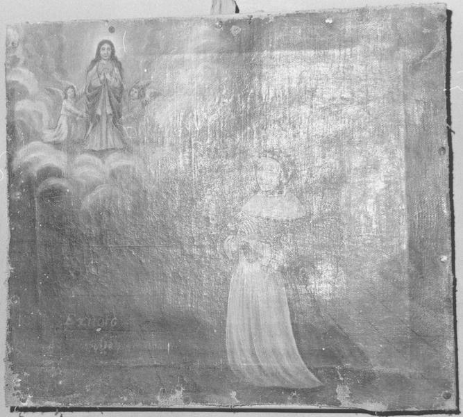 ex-voto: femme en prière devant la Vierge