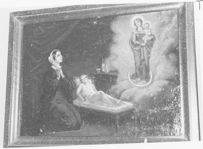 Ex-voto: femme en prière, enfant malade et Vierge à l'Enfant