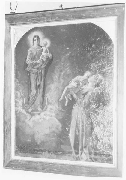 ex-voto: femme présentant son fils à la Vierge à l'Enfant