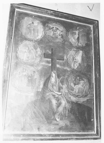 ex-voto: Vierge aux pieds de la Croix entourée de  sept scènes de la vie du Christ