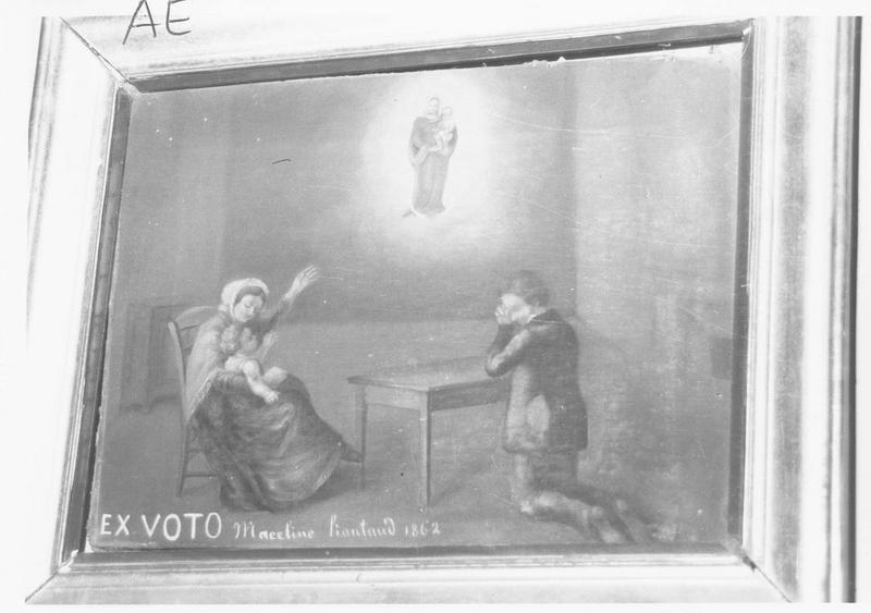 ex-voto: fillette alitée, femme en prière devant la Vierge à l'Enfant
