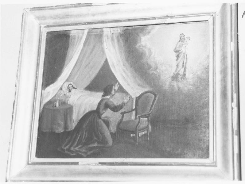 ex-voto: Granier: femme alitée, femme en prière devant la Vierge à l'Enfant