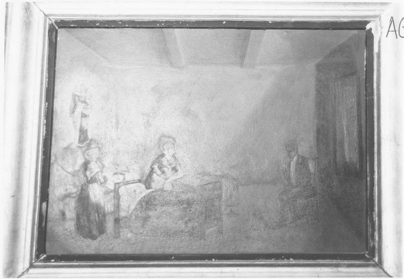 ex-voto: famille veillant autour d'un lit, Vierge à l'Enfant