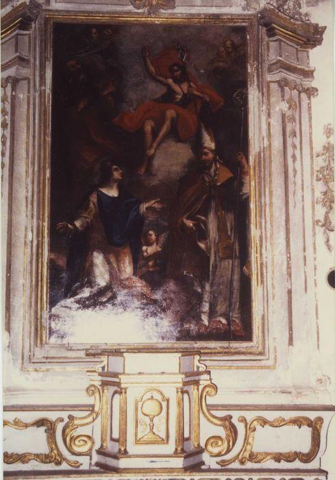 Tableau : Saint Jean-Baptiste, saint évêque et sainte couronnée