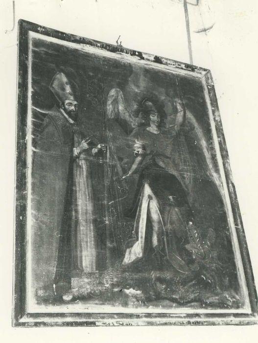 Tableau : Saint Michel terrassant le dragon, accompagné d'un évêque
