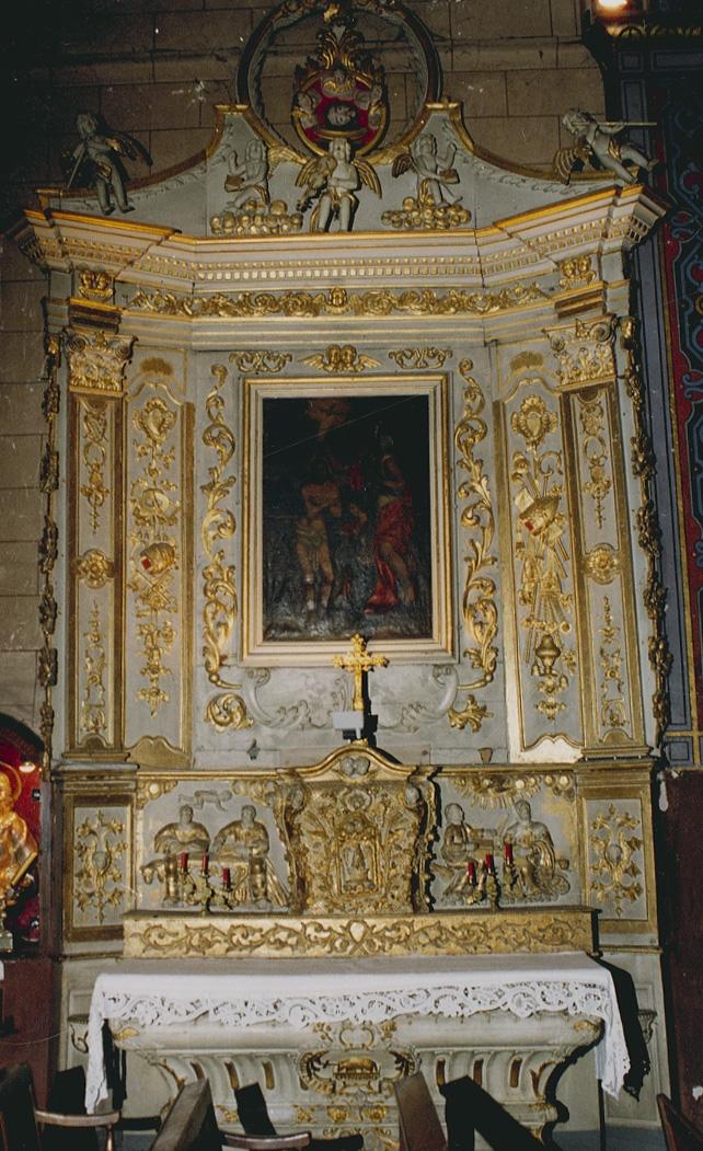 Autel, gradin d'autel et tabernacle urne à ailes, retable et tableau d'autel : le Baptême du Christ