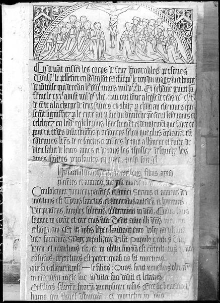 Plaque funéraire de Toussaint Le Pelletier et de Jeanne Guiot, sa femme