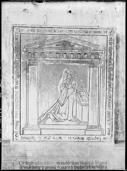 Plaque funéraire de Nicolas Lefevbre et de Marie Bourbon, sa femme