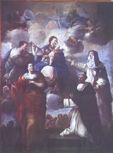 Tableau : Remise du Rosaire à saint Dominique et à sainte Catherine, en présence de sainte Appollonie et de saint Jean-Baptiste