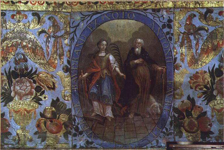Antependium avec en médaillon central sainte Catherine et saint Antoine