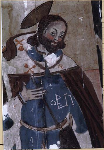 Panneau peint : Saint Roch et la Vierge de l'Assomption, détail de saint Roch