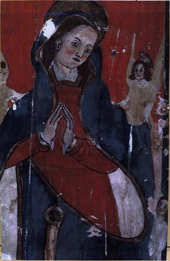 Panneau peint : Saint Roch et la Vierge de l'Assomption, détail de la Vierge