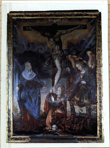 tableau : Calvaire avec la Vierge, Marie-Madeleine et saint Michel