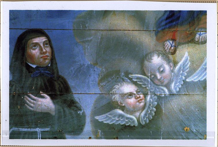 Tableau : Assomption de la Vierge entre deux pénitents noirs, détail
