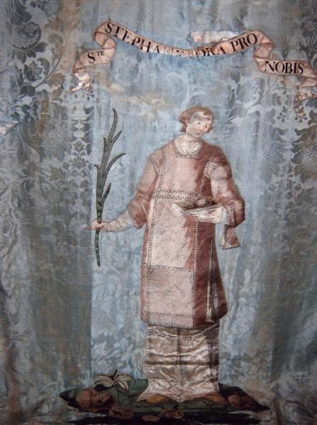 Bannière de procession double face : saint Etienne, vue générale