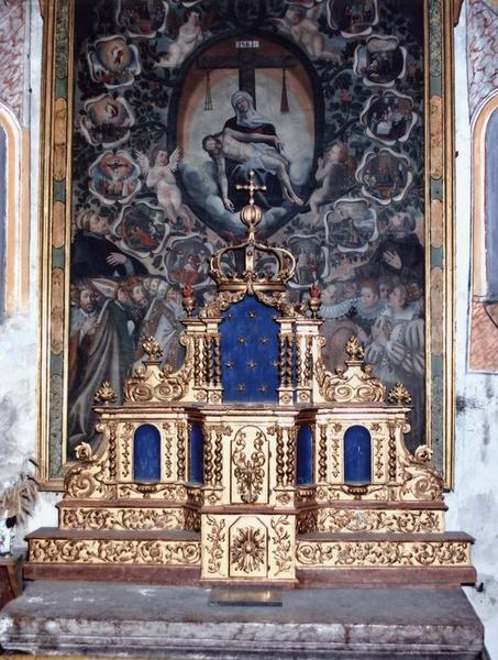 Tableau, cadre : Pietà entourée des mystères du rosaire, vue générale