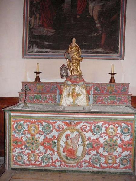 Autel de sainte Cécile, avec son tabernacle et ses 2 gradins d'autel