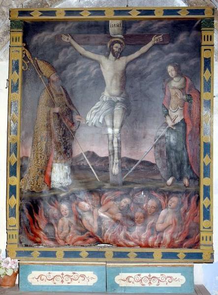 Tableau et son cadre : Christ en croix entre saint Marcellin et sainte Catherine d'Alexandrie, et les âmes du purgatoire