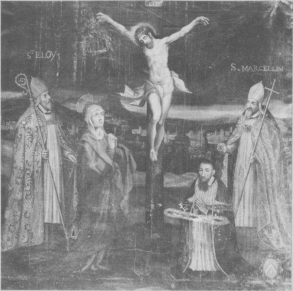 Tableau : le Christ en croix, la Vierge, saint Eloi, saint Marcellin d'Embrun et un donateur