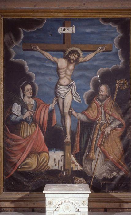 tableau: Crucifixion ou Christ en croix entre sainte Catherine et un saint Abbé