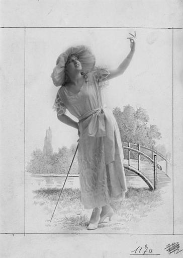 Portrait de Camille Vernades avec un décor dessiné ajouté a posteriori