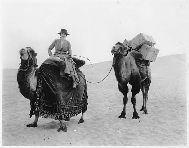 Géraldine Farrar dans le désert sur un chameau