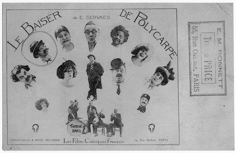 Carte postale présentant les visages des acteurs : Max, Paquerette, Charles Serâch et Bataille dans Le baiser de Polycarpe d'E. Servaes (Les Films Comiques Français)