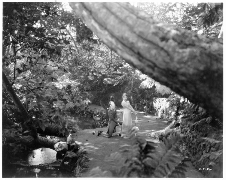 Betsy Patterson (D. Costello) et Jérôme Bonaparte (C. Nagel) lui avouant son amour dans un parc